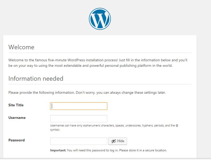 wordpress安装过程